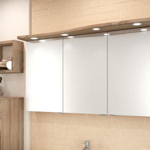 Prestige: Spiegelschrank mit geschwungenem Leuchtboard und LED-Einbauleuchten