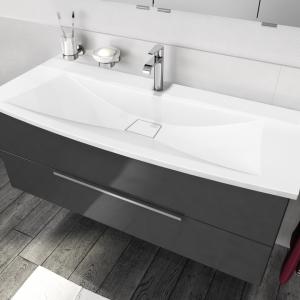 CREA.sun Waschtischunterschrank mit 2 Auszüge, Front und Korpus: Anthrazit Hochglanz